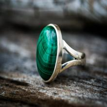 Malachite Ring - Malachite Gemstone Ring, Green Malachite Ring - Malachite Jewelry - Ring Size 8 - Malachite Ring - Unisex Malachite Ring