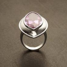 Marquise Gemstone Ring - Sterling Silver Ring - Purple Zirconia - Modern Ring - Almond Shape - Pink Amethyst - Rose de France - Statement