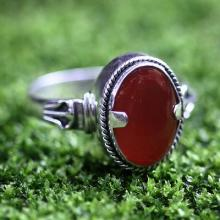 Men's Unique Sterling Silver and Carnelian Ring, 'Dragon Eye'
