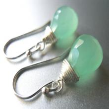 Mint Green Chalcedony gemstone earrings, Minty Fresh Teeny earrings, Mint Green Dangle Earrings, Gemstone Earrings