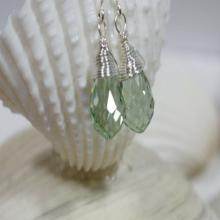 Minty Green Drop Earrings Wire Wrapped Earrings Crystal Earrings Teardrop Earrings Briolette Earrings