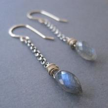 Mixed Metal Jewelry, Labradorite Dagger Earrings, Silver Gold Dangles, Gemstone Earrings,