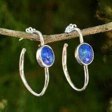 Modern Silver Half Hoop Earrings with Lapis Lazuli, 'Modern Moonlight'