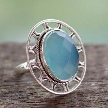Modern Silver Ring with Blue Chalcedony, 'Mumbai Sky'