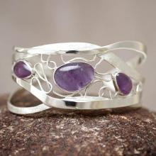 Modern Sterling Silver Cuff Amethyst Bracelet