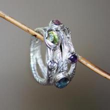 Modern Sterling Silver and Multigem Ring