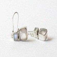Moonstone Earrings - Rose Quartz Earrings - Silver Jewelry - Fine Earrings - Unique Earrings - Fine Jewelry - Silver Earrings - Multistone