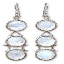 Moonstone Earrings from India Sterling Silver Jewelry, 'Icy Dew'