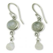 Moonstone Earrings in Sterling Silver Handmade in India, 'Shimmer'