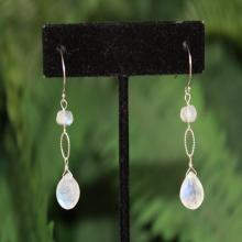 Moonstone Earrings, Gold, Silver, Dangle, Drop, June Birthstone, Simple Moonstone Earrings, Minimalist, Blue Moonstone, Gemstone Earrings