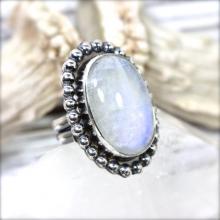 Moonstone Ring Rainbow Moonstone Ring Sterling Silver Ring Gemstone Ring Gemstone Jewelry Moonstone Jewelry Sterling Silver Statement Ring