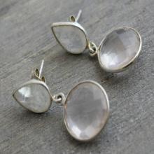 Moonstone Rose Quartz Drop Earrings - Gifts for her - Wedding Jewellery - Gemstone Earrings - Sterling Silver Earrings - Pink Stone