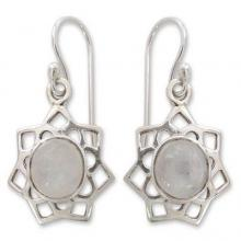 Moonstone dangle earrings, 'Star of Gujurat'
