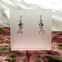 Moonstone-Blue Topaz Earrings Moonstone Earrings Moonstone Jewelry Blue Topaz Jewelry Gemstone Earrings Gemstone Jewelry