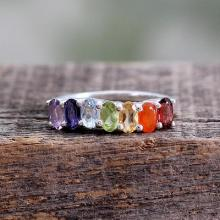 Multi Gemstone Sterling Silver Ring Chakra Jewelry