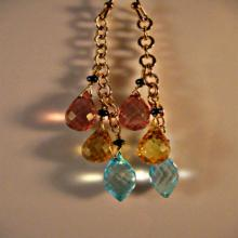 Multi gemstone dangle earrings,drop earrings,cluster earrings,gold earrings,gemstone earrings,quartz earrings