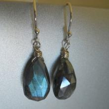 Mystic Blue Flash Labradorite Earrings, In the Mist Earrings, Mystic Labradorite, Gemstone Earrings, Very different