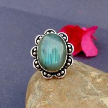NATURAL LABRADORITE Ring -Size 8.0 Ring - 925 Sterling Silver Ring - LABRADORITE Gemstone Ring - Vintage Ring