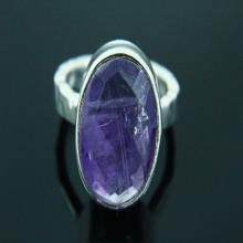 Natural Amethys Ring, Amethyst Jewelry, Amethyst Ring, Gemstone Ring, Hammered Ring, 925 Silver Plated, Silver Ring, Gemstone Jewelry