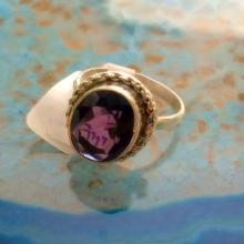 Natural Amethyst 925 Solid Genuine Sterling Silver Ring Size 7 - Silver Amethyst Ring - Gemstone Ring- ring size 7 - Purple stone ring