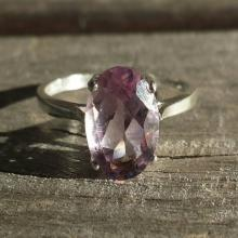 Natural Amethyst Ring, 3.5 Carat Oval Solitaire, Sterling Silver Wire Mount, Size 8, Gemstone Jewelry, Engagement Ring, Gemstone Ring