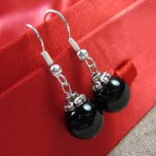 Natural Black Bead earrings