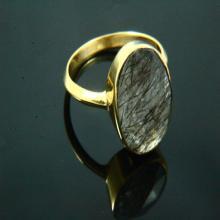 Natural Black Rutile Ring, Handmade Ring, Black Rutile Jewelry, Gemstone Ring, 14K Gold Plated, Gold Ring, Gemstone Jewelry, Natural stone