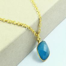 Natural Blue Chalcedony Necklace, Blue Chalcedony Pendant, Chalcedony Necklace, square Gold Plated, Gold Necklace, Gemstone Jewelry