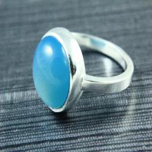 Natural Blue Chalcedony Ring, Blue chalcedony Ring, Gemstone Ring, 925 Silver Plated, Silver Ring, Gemstone Jewelry
