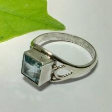 Natural Blue topaz Gemstone Ring - Bezel Set Artisan Ring - Handmade Ring - Birthstone Ring - Best Gift - Valentine's Ring