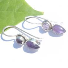 Natural Cab Amathyst Gemstone Earrings Birthstone Earrings  Bezel Set Handmade Earrings  Designer Earrings
