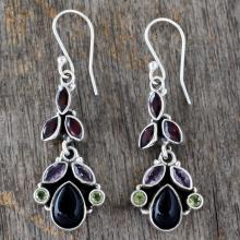 Natural Gemstone Earrings Sterling Silver Jewelry from India, 'Abundance'