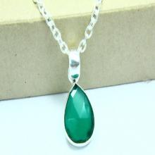 Natural Green Onyx Necklace, Green Onyx Pendant, Gemstone Necklace, Chalcedony Jewelry, 925 Silver Plated, Silver Necklace, Gemstone Jewelry