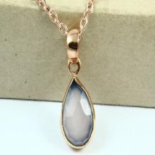 Natural Pink Chalcedony Necklace, Pink Chalcedony Pendant, Gemstone Necklace, Rose Gold Plated Necklace, Gemstone Jewelry