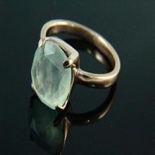 Natural Prehnite Ring, Prehnite Jewelry, Stone Ring, Gemstone Ring, 18k Rose Gold Plated, Rose Gold Ring, Gemstone Jewelry