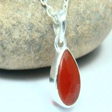 Natural Red Onyx Necklace, Red Onyx Pendant, Gemstone Necklace, Chalcedony Jewelry, 925 Silver Plated, Silver Necklace, Gemstone Jewelry