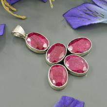 Natural Red Ruby Pendant, Set in Sterling Silver Pendant, Red Gemstone Pendant, Bezel Set Pendant