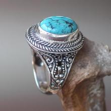 Natural Turquoise Handcrafted Sterling Silver Cocktail Ring, 'Javanese Lake'