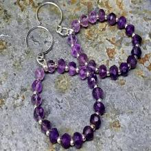 Natural amethyst 925 sterling silver earrings. genuine gemstone earring, beaded hoop earring, womens earring, delicate feminine earring