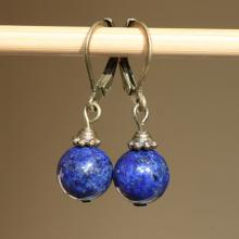 Navy Blue Earrings Lapis Lazuli Earrings Gemstone Earrings Semi Precious Stone Dangle Small Earrings Jewelry Cobalt Indigo
