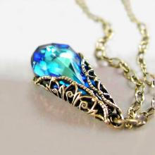 Ocean Blue Necklace Blue Crystal Necklace Aqua Blue Pendant Necklace Antique Gold Brass Chain Victorian Jewelry Blue Teardrop