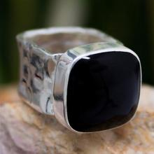 Onyx Fair Trade Taxco Silver Cocktail Ring