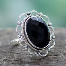 Onyx and Sterling Silver Flower Ring from India, 'Midnight Blossom'