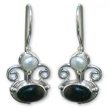 Onyx and pearl drop earrings, 'Sunrise Spirit'