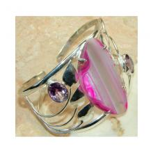 Onyx,Pink Amethyst Faceted Bangle 925 Sterling Silver