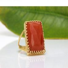 Orange aventurine ring,rectangle ring,gold ring,gemstone ring,gold cocktail ring,14k solid gold ring,large gold ring