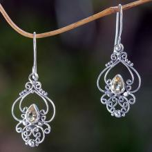 Ornate Citrine and Sterling Silver Dangle Earrings, 'Golden Arabesque'