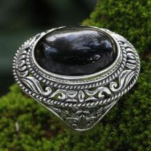 Ornate Handcrafted Onyx and Silver Ring
