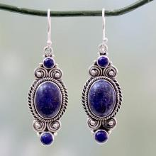 Ornate Sterling Silver Dangle Earrings with Lapis Lazuli, 'Johari Treasure'