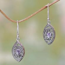 Ornate Sterling Silver and Amethyst Earrings from Bali, 'Karma Shield'